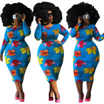 Plus size Womens printed long-sleeved dress (without belt) J6019