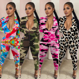 Camouflage Leopard Print Long Sleeve Finger Zipper Jumpsuit MA6593