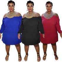 Plus size women's solid color one-shoulder long sleeve dress MA6581