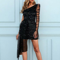 Slanted shoulder gauze bronzing pleated dress dress plus size women's clothing YFS1227