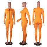 Solid color long sleeve finger zipper jumpsuit MA6585