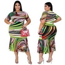 Women's hot sale digital printing striped plus size dress autumn YFS1250