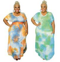 Tie-dye printed side pockets V-neck looser plus size women's dress OSS20826