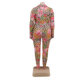 Women's floral print long shirt and pants suit YFS1248