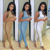 Fashion casual sexy solid color zipper trouser slit sleeveless slim high waist sports jumpsuit SM9106