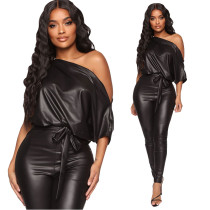 New strapless strapless sexy tight leather jumpsuit ME2866