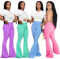 Solid color denim flared pants sexy women QQ5020