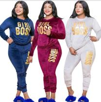 Velvet letter printing fashion casual two-piece plus size womens suit OSS20865