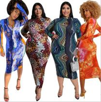 Printed tight-fitting bag hip front and back wear plus size womens dress OSS20860