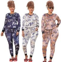 Letter printing fashion casual two-piece suit plus size womens suit OSS20863