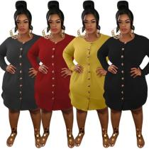 Slim fit can be made cardigan side pockets long sleeve autumn plus size dress OSS20868