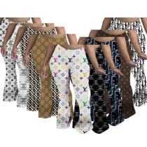 Printed sweatshirt fabric pleated slit micro flared sweatpants MC021