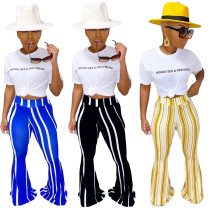 Womens Striped Printed Casual Flare Pants Autumn Pants YY5203