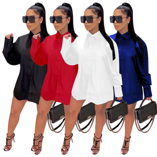 Womens Long Sleeve Loose Stand Collar Solid Color Long Shirt ME2877