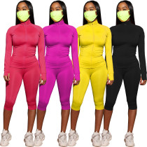 Womens sportswear two-piece suit running wear long-sleeved jacket cropped pants AL118