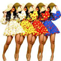 Womens Floral Dress Long Sleeve Lantern Sleeve Short Dress Autumn AL120