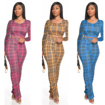 Fashion casual sexy plaid print trousers pleated nightclub style slim long-sleeved trousers two-piece suit SM9108