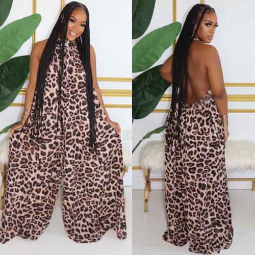 Sexy leopard halter sleeveless wide-leg pants jumpsuit nightclub service K2033