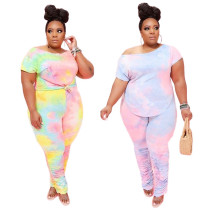 Womens plus size tie-dye long pants with pleated two-piece suit BD8017