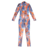 Fashion Printed Long Sleeve Slim Fit Sports Jumpsuit P1738544