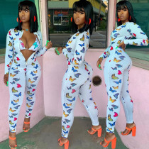 (Include bra) Womens slim butterfly print zipper jumpsuit BN109