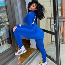 womens zipper stitching long sports fitness jumpsuit P072669A
