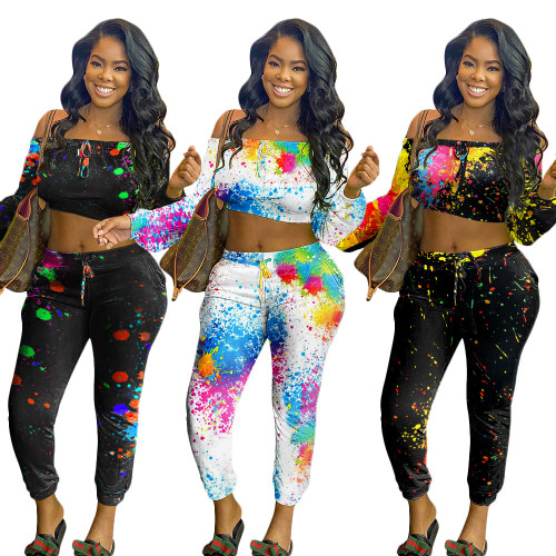 Casual graffiti printed sports trousers two-piece suit women SN3868