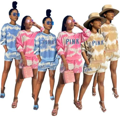 Fashion womens casual printing womens tie-dye two-piece suit YM8125