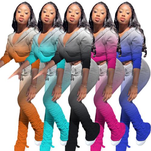 womens Sweatshirt Gradient Color Pleated Split Hoodie Sports Set ZH5268