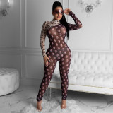 Sexy mesh printed sports yoga jumpsuit P072725W