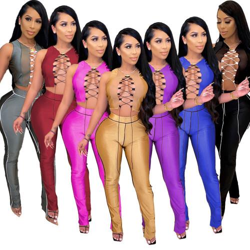 womens mesh stitching lace high waist micro horn split sexy suit LA3222