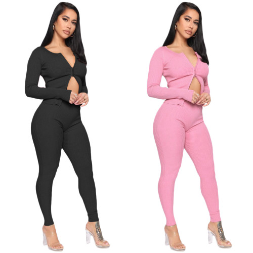 Casual zipper round neck slim-fit cropped trousers two-piece suit women SN3880