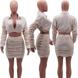 Cute pleated skirt suit HM6341