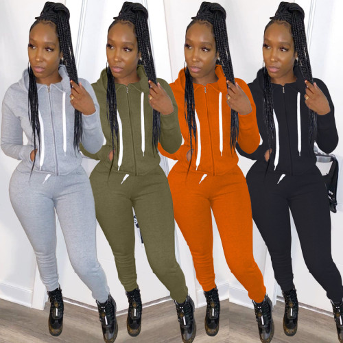 Womens fashion autumn and winter new leisure hooded sweater sports suit two-piece suit TK6119