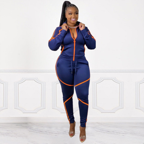 Fashion Womens zipper sports casual trousers two-piece suit YZM7084