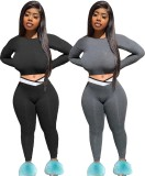 Two-piece suit of casual fashion plus size Womens clothing, fat lady's clothing, V-shaped waistband W897