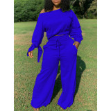 Trendy Long Sleeve Knotted Wide Leg Pants Set TY1872