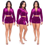 Womens sports gold velvet autumn long sleeve two-piece suit CYF3676