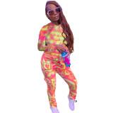 Women Fashion Printed Hooded Workwear Pocket Pants Two-piece Sports Pants Set TY1871
