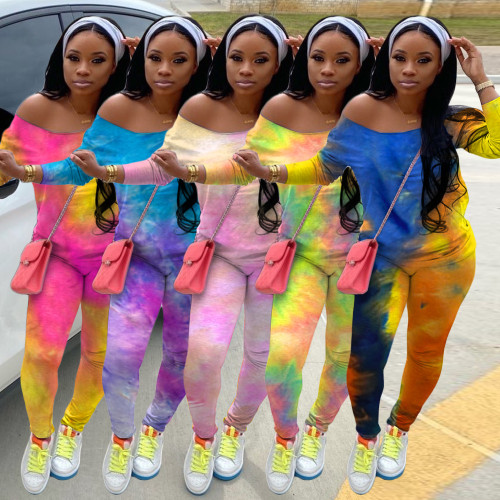 Fashion Ladies Tie Dye Color Ladies Long Sleeve Casual Suit Without Headscarf YZM7081