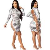Ladies Tie-Dye Print Bandage Dress Nightclub Wear KA7125