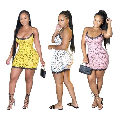 Fashion sexy sling lace side bag hip skirt dress WY6707