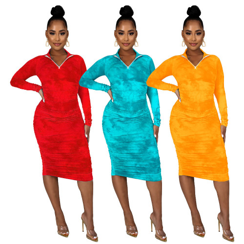 Fashion tie dyed zipper stand collar long sleeve dress MA6606
