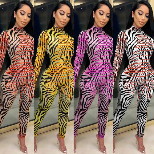 Slim-fit pattern long-sleeved one-piece nightclub clothes KA7124