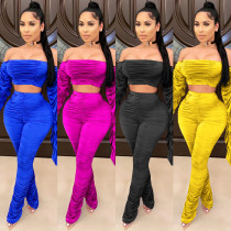 Casual Multicolor Pile Pants Flare Sleeve One Shoulder Two-piece Set XZ3679