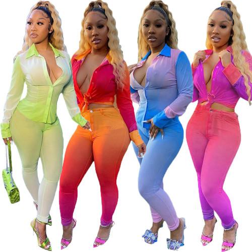 Autumn and winter long cut piece printing gradient dress uniform slim suit women CM782