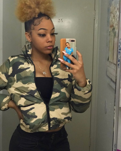 Army green camouflage printing and dyeing bread jacket down cotton jacket quilted jacket QZ4552