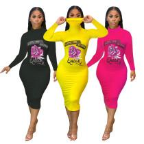 Fashion flower print high neck long sleeve dress ML7368
