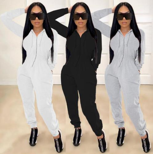 Womens fashion casual solid color waist waist hooded pocket zipper long-sleeved trousers sports jumpsuit SM9111