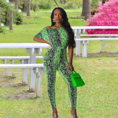 Sexy leopard green pattern one piece set nightclub clothes HY5178